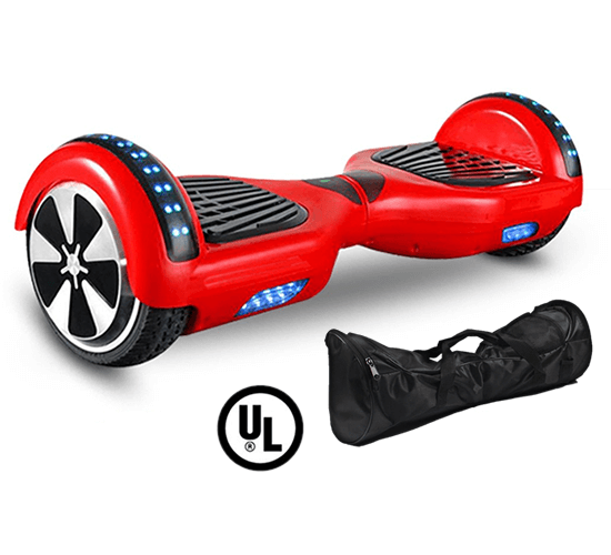 red hoverboard with carry bag